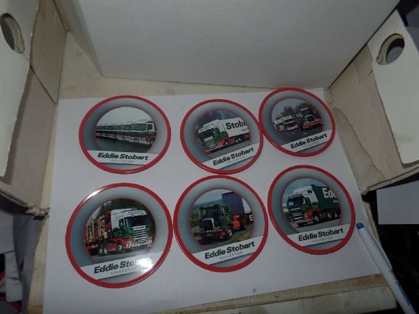 ATLAS Oxford Diecast Eddie Stobart Collect Set of Metal and Cork Drinks Coasters